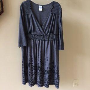 JMS Just My Size Gray Floral Print Dress 2X 18-20W